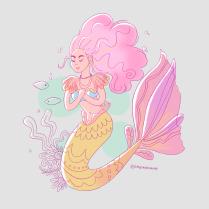 Una sirena con cabello rosa como el algodón de azúcar.